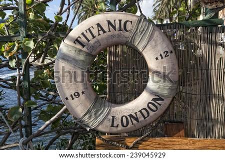 rsm titanic 1912 life buoy - stock photo