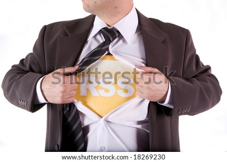 RSS business man on the white background - stock photo