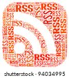 RSS (Really Simple Syndication) Symbol info-text graphics and arrangement concept on white background - stock photo