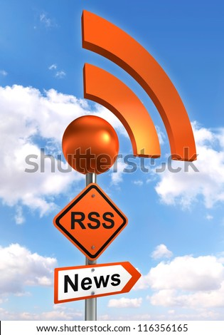 rss road orange sign on pole with sky background. clipping path included