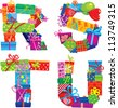 RSTU - english alphabet - letters are made of gift boxes. Raster version - stock photo