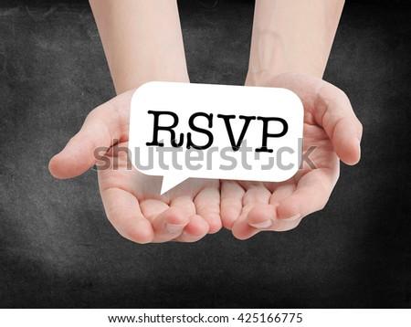 RSVP written on a speechbubble - stock photo