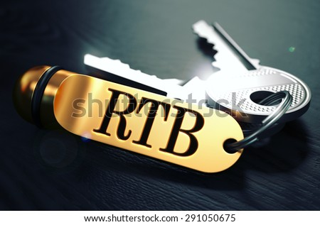 RTB - Real Time Bidding - Bunch of Keys with Text on Golden Keychain. Black Wooden Background. Closeup View with Selective Focus. 3D Illustration. Toned Image. - stock photo
