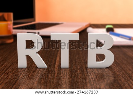 RTB - Real Time Bidding - letters on wooden desk with laptop computer and a notebook. 3d render illustration. - stock photo