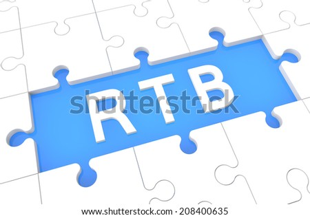 RTB - Real Time Bidding - puzzle 3d render illustration with word on blue background - stock photo