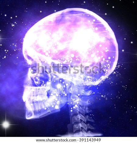 rtg of human skull with galaxy