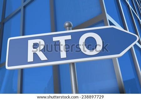 RTO - Recovery Time Objective - illustration with street sign in front of office building.