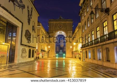 Rua Augusta Arch in Lisbon in Portugal - stock photo