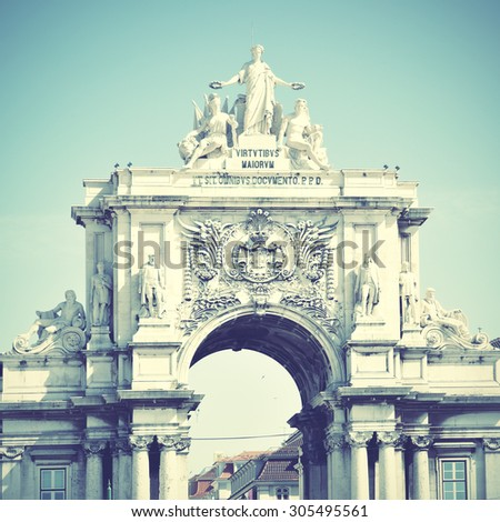 Rua Augusta arch in Lisbon, Portugal. Instagram style filtered image - stock photo