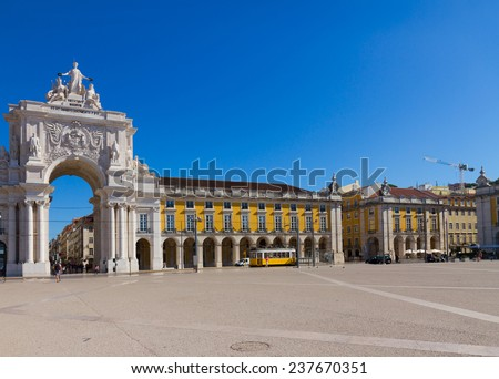 Rua Augusta Arch is a triumphal arch-like, historical building,  Lisbon  Commerce Square, Portugal - stock photo