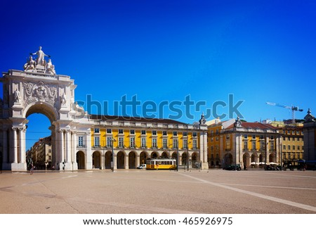 Rua Augusta Arch is a triumphal arch-like, historical building, Lisbon Commerce Square, Portugal, retro toned