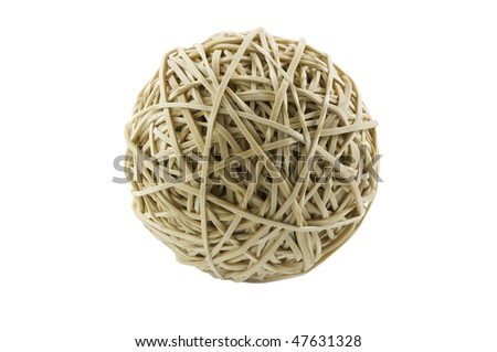 Rubber band ball isolated on white with clipping path - stock photo