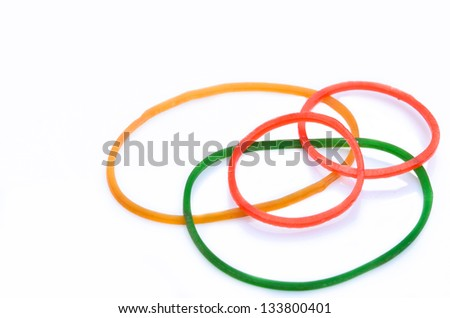 Rubber Band on white background - stock photo