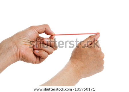 Rubber Band shooting with white background