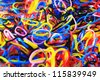 Rubber bands of many colors. - stock photo