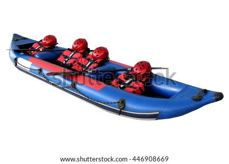 Rubber boats, helmets, life jackets and paddles isolated on white background. - stock photo