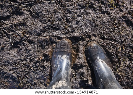 rubber boot black color - stock photo
