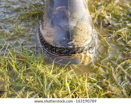rubber boot in mud