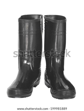 Rubber boot on white background. - stock photo