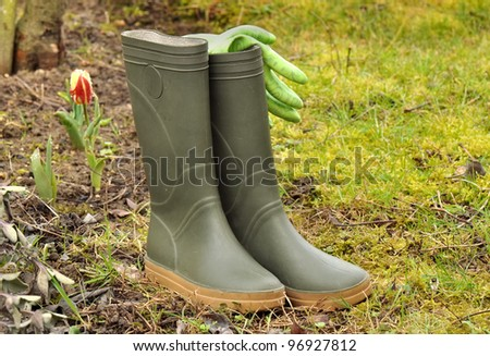 rubber boots and gardening gloves in the garden in spring