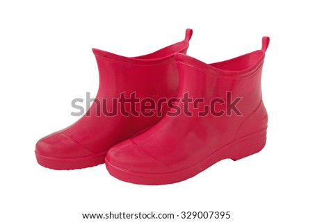 Rubber boots red on white background