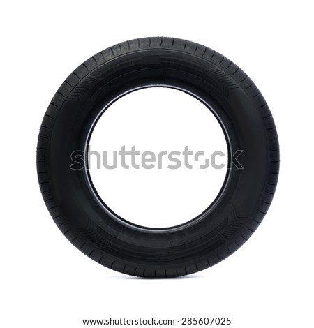 Rubber car tire side view. Studio. Isolate on white. - stock photo