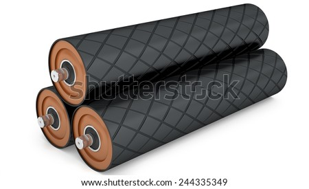 Rubber drum conveyor pulley isolated on white background - stock photo