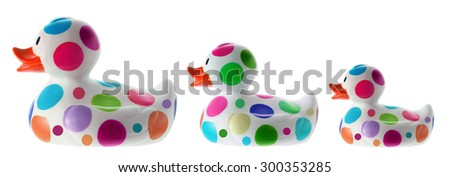 Rubber Duckies on White Background - stock photo