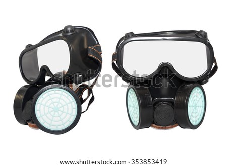 Rubber dust mask. Isolated black rubber dust mask with air filters profile and front view on white background. - stock photo