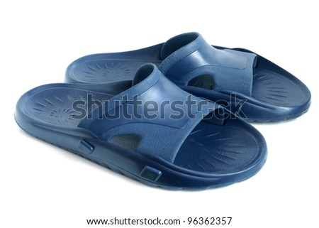 Rubber flip flops on a white background - stock photo