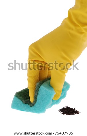 Rubber Glove and red Sponge on white. Clipping path included.