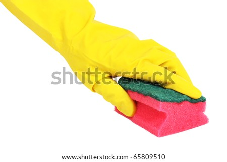 Rubber-gloved hand cleaning some surface with sponge, isolated on white