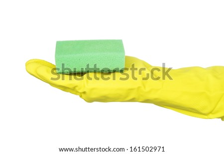 Rubber gloves and a cleaning sponges on a white background.