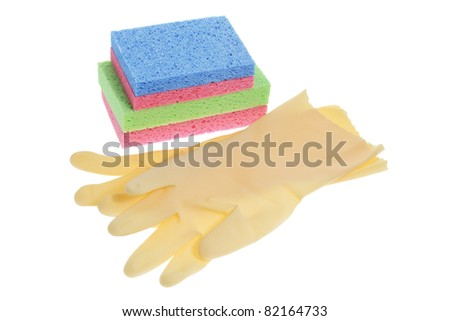 Rubber Gloves and Sponges on White Background