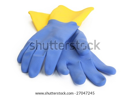 rubber gloves isolated on white background - stock photo