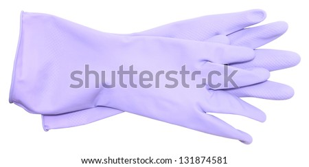 rubber gloves on a white background - stock photo