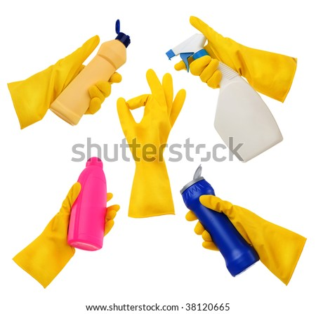 Rubber Gloves Set - stock photo