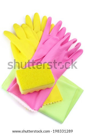 Rubber gloves, sponge and wiper isolated on white background.