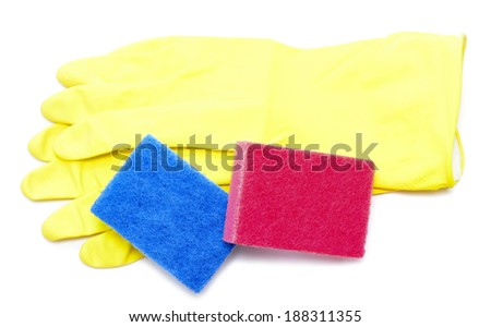 rubber gloves, sponges are isolated on a white background - stock photo