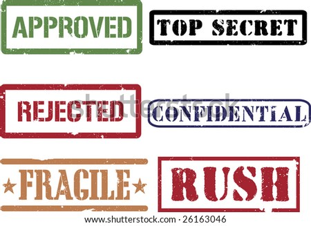 Rubber grunge stamps (approved confidential fragile rush rejected and top secret). - stock photo