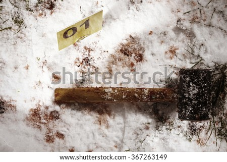 Rubber hammer as evidence of murder - stock photo