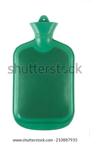 rubber hot water bottle over white - stock photo