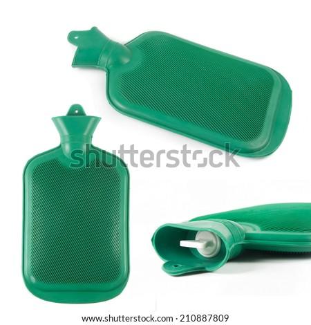 rubber hot water bottles over white - stock photo
