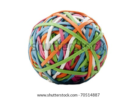 Rubber rings of different colors assembled for easy storage in a bowl. - stock photo