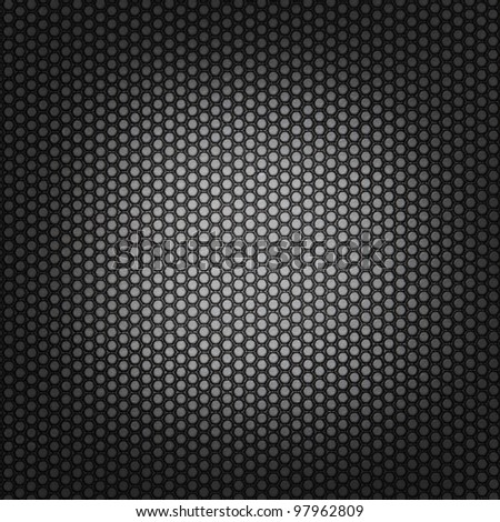 Rubber square dark mesh background with light spot and dark borders - stock photo