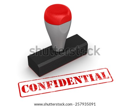 Rubber stamp - confidential , computer generated image. 3d rendered image. - stock photo