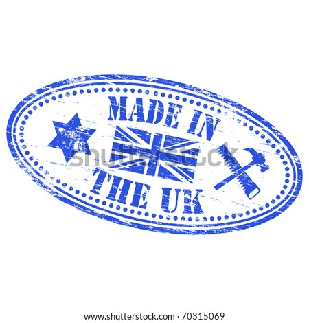 "Rubber stamp illustration showing ""MADE IN THE UK"" text"