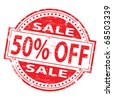 "Rubber stamp illustration showing ""50% Off"" text - stock vector"