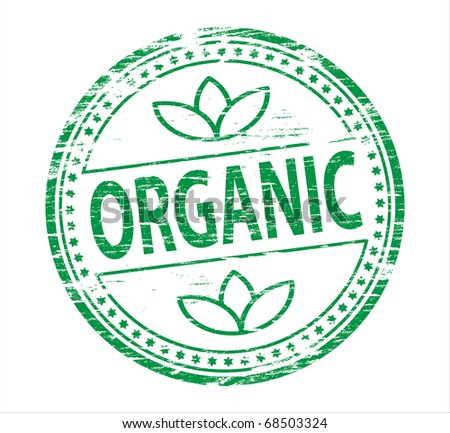 "Rubber stamp illustration showing ""Organic"" text - stock photo"