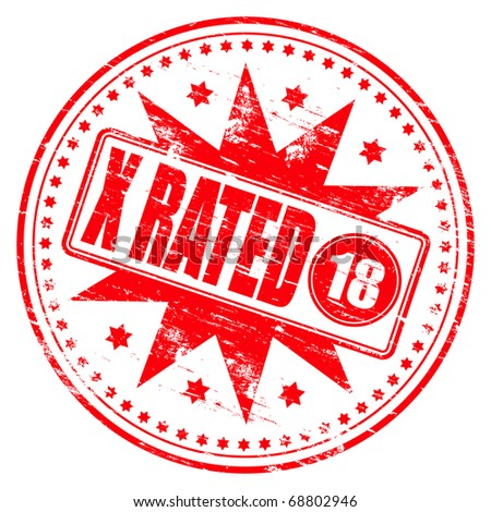 """Rubber stamp illustration showing """"X RATED"""" text and 18 symbol - stock photo"""